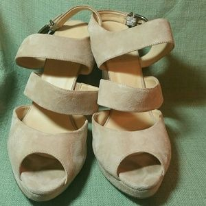 J.Crew Nude Suede strappy platform sandal sz 12